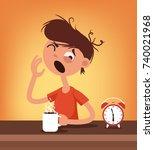 sleepy man character wake up... | Shutterstock .eps vector #740021968