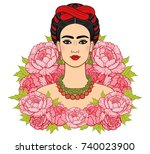 portrait of the beautiful... | Shutterstock .eps vector #740023900