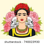 portrait of the beautiful... | Shutterstock .eps vector #740023930