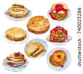 The Set Of Pancakes  Watercolo...