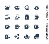 tea related vector icon set in... | Shutterstock .eps vector #740027488
