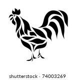 Vintage Black Rooster Isolated...