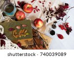 mug of black coffee wrapped in...   Shutterstock . vector #740039089