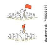 sketch of working little people ... | Shutterstock .eps vector #740039194
