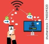 hacker use krack method for... | Shutterstock .eps vector #740039320