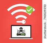 hacker use krack method for... | Shutterstock .eps vector #740039350