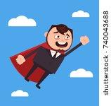 happy smiling office worker... | Shutterstock .eps vector #740043688