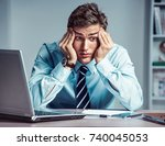 young businessman with pain in... | Shutterstock . vector #740045053