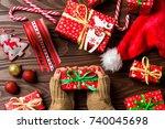 woman holding christmas gift... | Shutterstock . vector #740045698
