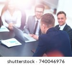 businesspeople at business... | Shutterstock . vector #740046976