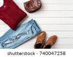 woman's warm clothing for... | Shutterstock . vector #740047258