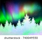 christmas winter landscape... | Shutterstock .eps vector #740049550