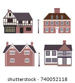 set of old english cottages ... | Shutterstock .eps vector #740052118