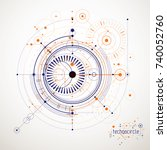 technical plan  abstract... | Shutterstock .eps vector #740052760