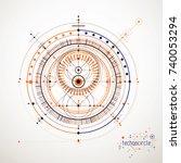mechanical scheme  vector... | Shutterstock .eps vector #740053294