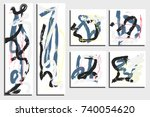 cards template. messy hand... | Shutterstock .eps vector #740054620