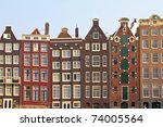 medieval houses in amsterdam... | Shutterstock . vector #74005564