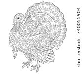 coloring page of turkey for... | Shutterstock .eps vector #740055904