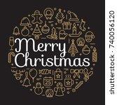 merry christmas for winter... | Shutterstock .eps vector #740056120