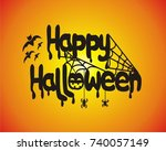 happy halloween. vector... | Shutterstock .eps vector #740057149