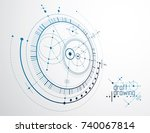 technical plan  abstract... | Shutterstock .eps vector #740067814
