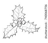 mistletoe black and white...   Shutterstock .eps vector #740068756