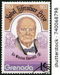Small photo of MOSCOW, RUSSIA - MAY 22, 2016: A stamp printed in Grenada shows Sir Winston Spencer Churchill (1874-1965), politician, Nobel Prize for Literature in 1953, 1977