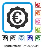 euro award seal icon. flat grey ...