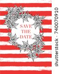 save the date card design.... | Shutterstock .eps vector #740070910