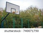 basketball hoop in the public... | Shutterstock . vector #740071750