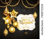 merry christmas golden text.... | Shutterstock .eps vector #740072224