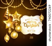 merry christmas golden text.... | Shutterstock .eps vector #740072269