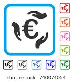 euro care hands icon. flat gray ... | Shutterstock .eps vector #740074054