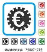 euro cog icon. flat gray iconic ...