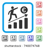 euro business growth icon. flat ... | Shutterstock .eps vector #740074768