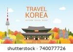 travel korea template vector...   Shutterstock .eps vector #740077726