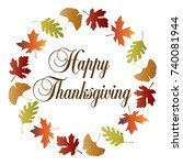 happy thanksgiving wreath with... | Shutterstock .eps vector #740081944