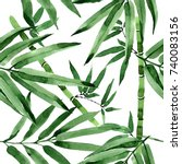 tropical leaves bamboo tree... | Shutterstock . vector #740083156