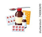 medication for sore throat  flu ... | Shutterstock .eps vector #740083690