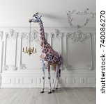 The giraffe hold the chandelier ...