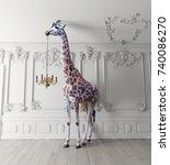 the giraffe hold the chandelier ... | Shutterstock . vector #740086270