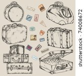 set of old vintage suitcases... | Shutterstock .eps vector #74008672