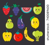 cute kawaii fruit and vegetable ... | Shutterstock .eps vector #740089600