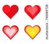 set of heart icon vector... | Shutterstock .eps vector #740089738