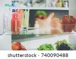 open refrigerator with fresh...   Shutterstock . vector #740090488