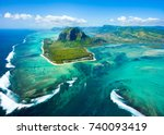 aerial view of mauritius island ...   Shutterstock . vector #740093419