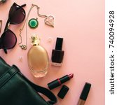 flat lay of woman accessories...   Shutterstock . vector #740094928