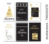 christmas sales set  holiday ... | Shutterstock .eps vector #740102470