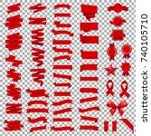 ribbon set in transparent... | Shutterstock .eps vector #740105710