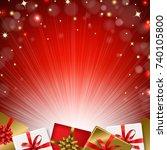 red sunburst background with... | Shutterstock .eps vector #740105800